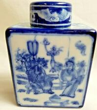 "Asian Oriental Tea Caddy Medicine Bottle Jar Square 5"" Tall Blue White"