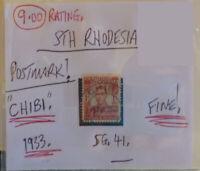 RARE RHODESIA POSTMARK ON STAMP CHIBI 1933