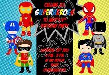 Personailsed Superhero Birthday Party Invitations - Pack of 12. Spiderman Batman