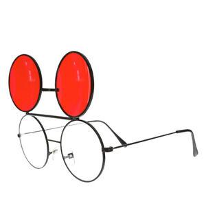 Retro Flip Up Glasses with Red Lenses Black Frame - Flippy