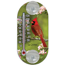 "204-104 La Crosse 4"" Indoor/Outdoor Window Thermometer - Cardinal"
