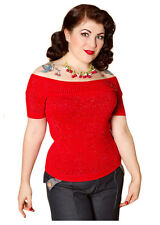 Miss Fortune Top 50s Rockabilly,Retro,1950s,LUREX SPARKLE, Bombshell, Red, XS