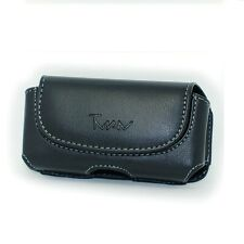 Black Horizontal Leather Cover Clip Side Holster Case Pouch For LG Optimus F60