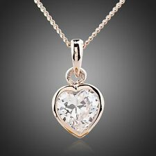 Love Heart Rose Gold Plated Stellux Austrian Crystal Jewellery Pendant Necklace