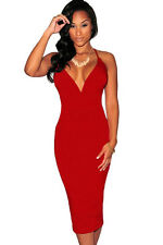 Sexy Red Plunging V Neck Halter Lace-Up Midi Party Club Dress