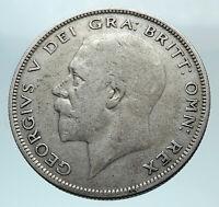 1929 Great Britain United Kingdom UK King GEORGE V Silver Half Crown Coin i80820