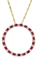 10K Yellow Gold Plated Round Ruby and Diamond Hip Hop Circle Pendant For Ladies.