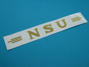 NSU Logo Schriftzug Oldtimer Aufkleber  Abziehbild  Gold