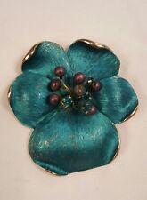 Vintage Kramer Brooch Teal Blue Flower Pin