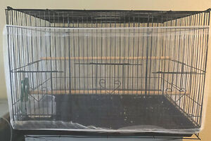 Bird Cage Cover Seed Catcher Birdcage  Mesh Net Cover Skirt Guard (White)