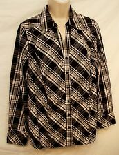 Top M Black White Plaid Long Sleeves Button Front Blouse Lane Bryant