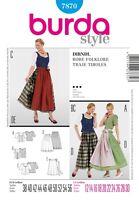 burda Schnittmuster / pattern  7870  Dirndl / Robe Folklore, EU 38-56 / US 12-30