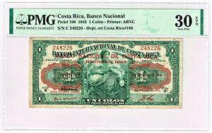 Costa Rica: 1 Colon 23.6.1943 Pick 190 PMG Very Fine 30 EPQ.