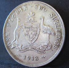1913 Australia Florin ** ERROR A FEW DIE CRACKS ** #180131-1 =8 PEARLS=