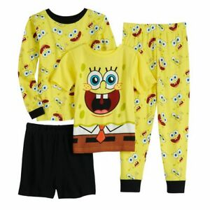 Nickelodeon Boys Spongebob Squarepants 4-Piece Cotton Pajama Set Yellow