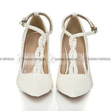White Pearls Stiletto Pumps Princess Bridal Heels Wedding Shoes Size 3 4 5 6 7 8