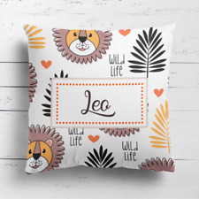 Personalised Cute Lion Kids Childrens Cushion Cover Pillow Case & Filling