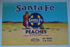 SANTA FE  Peaches Can Label, RR Logo & Native American Indian
