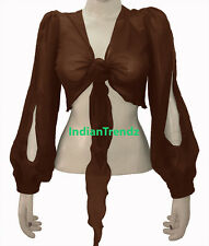 Black - Belly Dance Tie Top Flair Wrap Choli Gypsy Haut Danse Blouse Harem Slit