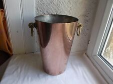 French classic copper ice champagne bucket solid brass handles marked