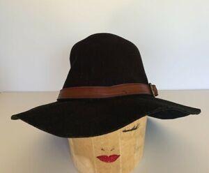 J CREW Women's Classic Black Wool Fedora Rancher Hat_Size M_Leather Hat Band_Adj