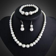 Wedding Bridal Bride Pearl Crystal Jewellery Set Necklace Earrings Bracelet set