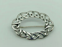 Gorgeous Vintage Sterling Silver Celtic Entwined Knot Oval Brooch