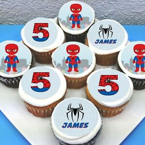 """Spiderman Personalised Edible Icing Cupcake Toppers - 2"""" - PRE-CUT - Sheet of 15"""