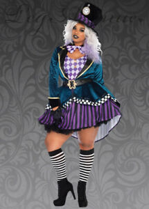 Womens Halloween Mad Hatter Plus Size Fancy Dress Fairytale Party Costume