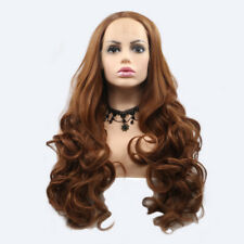 """Brown Long Wavy Synthetic Lace Front Wigs Heated Fibre Free Part For Women 24"""""""