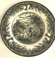 Royal Stafford Red Bull Inn Pattern Salad Plate Black White Fruit 8.5""