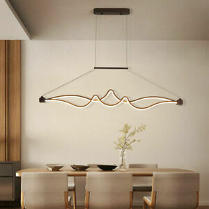 LED Coffee Aluminum Island Table Lamp Ceiling Light remote Dimmable Chandeleir
