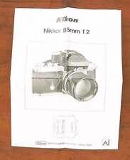 NIKON 85MM 85/2 AI NIKKOR MANUAL/105621