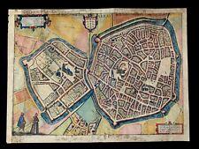 1581 HAND COLORED MAP OF THE CITY OF ARRAS - Civitates Orbis Terrarum Atlas