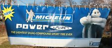 LARGE MICHELIN MOTORCYCLE TIRE BANNER, POWER PURE. NEW OLD STOCK. ADVERTISING