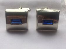 Classic Style Silver Tone Cufflinks With Blue Stone. In Great Condition