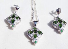 Solid 925 Silver Pendant Necklace Earrings Set Green Chrome Diopside White Topaz
