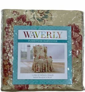 """NIP Sure-Fit Waverly 1-Piece Wing Chair Cover Ballad Bouquet In Blush Fits 42"""" H"""