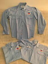 3 Vintage Chevron Blue Work Shirts 2 Short Sleeve 1Long USA Car Gas Garage CLYDE