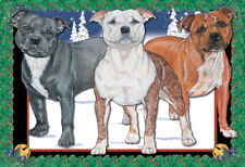 Staffordshire Bull Terrier Staffie Dog Christmas Cards Set of 10 cards & 10 enve