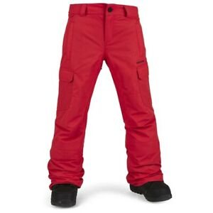 2021 NWT YOUTH VOLCOM CARGO INSULATED SNOWBOARD PANTS $140 M Red