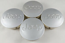 4x JEEP 55MM Wheel Center Cover Cap Brushed Silver Jeep Grand Cherokee Wrangler