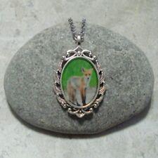 Fox Pendant Necklace Jewelry Antique Silver