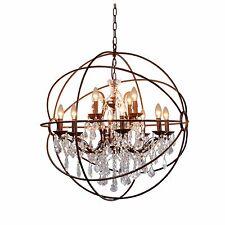 "32"" 12-LIGHT RUSTIC IRON CRYSTAL ORB CHANDELIER - A FOUCAULT's Globe Style"