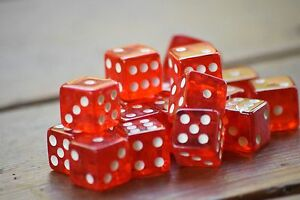 Red 20 Transparent w/ White Pip Bunco Gaming Dice Set 16mm D6 Yahtzee Quality