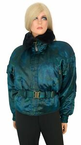 Vintage 80s Obermeyer PEPLUM SKI COAT Jacket Iridescent Teal Faux Fur sz 8