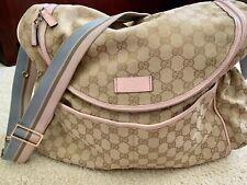 Gucci Logo Pink Blue Infant Baby Diaper Bag Authentic Euc