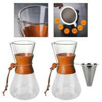 21 oz Pour Over Coffee Maker Glass with Wooden Cuff Hand Drip Coffee Brewer