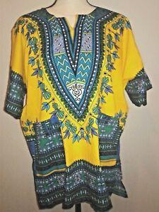 NWT Yellow African Dashiki Shirt Adult Size L