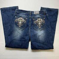 Grace In LA Embellished High Rise Blue Denim Jeans 21 Measures 36x30